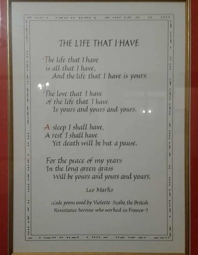 Gibraltar Farm: Violette Szabo's code poem hanging in Arisaig House.